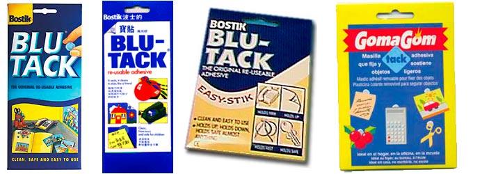 Diferentes masillas Blu Tack