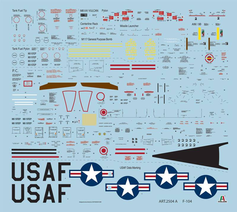 Hoja de calcas de la maqueta del F-104 de Italeri