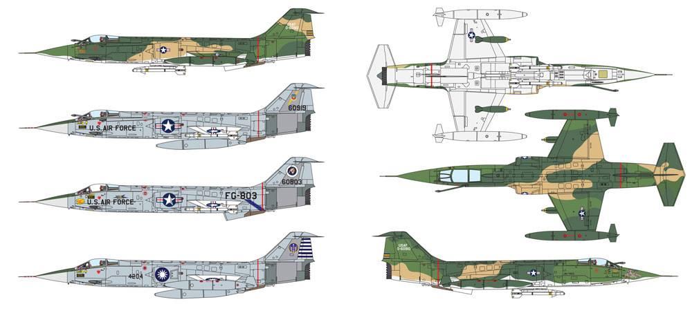 Esquemas de colores de la maqueta del F-104 de Italeri