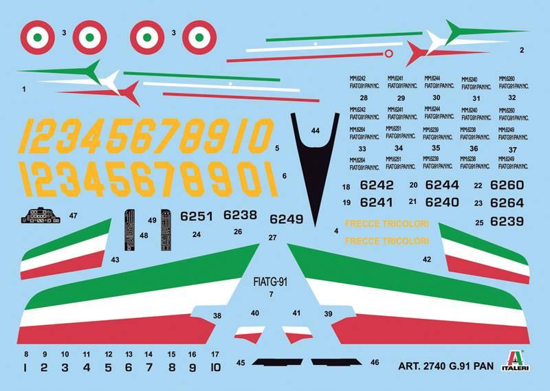 Maqueta Italeri Fiat G.91 Frecce Tricolori calcas